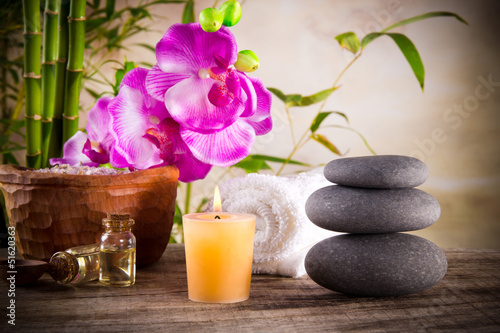 Spa still life with aromatic candle - 51620363