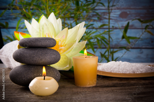 Spa still life with aromatic candles - 51620370