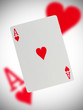 Playing card, ace of hearts