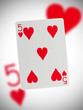 Playing card, five of hearts