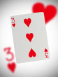 Playing card, three of hearts