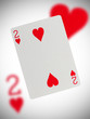 Playing card, two of hearts
