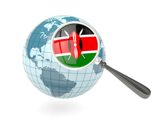 Magnified flag of kenya with blue globe