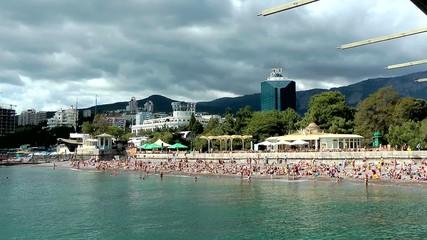 Пляж, набережная, море, город, горы