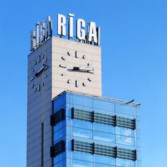 Riga central station clock tower