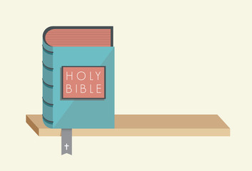 Holy Bible with bookmark and christian cross on the bookshelf