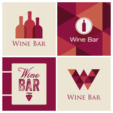 wine bar restaurant logo illustration vector