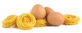Italian egg pasta nest isolated on white background