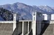 宮ヶ瀬ダムと雪景色の山並