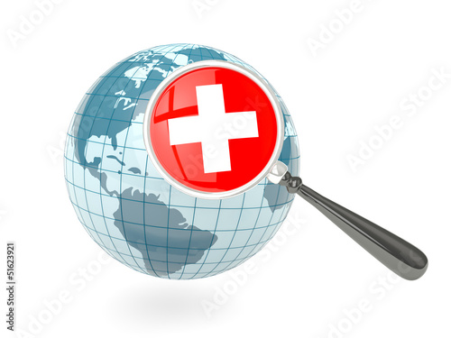 Magnified flag of switzerland with blue globe
