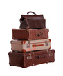 stack of very old suitcases