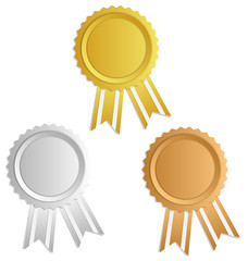 Gold, silver, bronze award label with ribbons