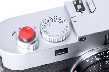 Close up of rangefinder camera