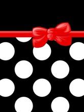 Polka Dots, wstążki i dziobu, Red, Black and White