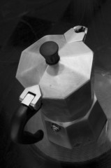 Italian coffee maker in black and white