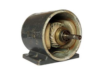 Dissasembled old dc electromotor
