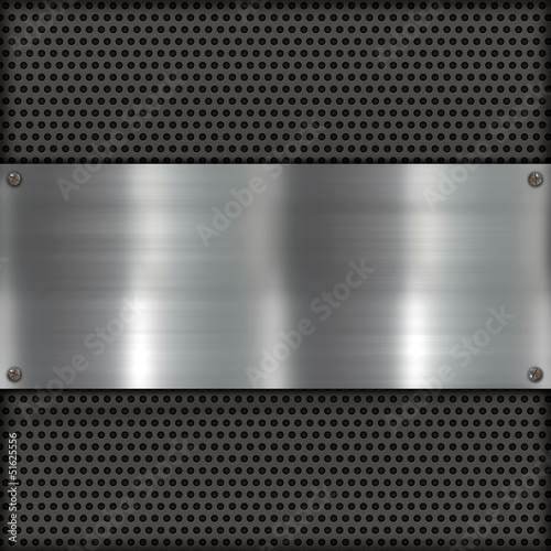 canvas print picture Metallplatte auf Carbon