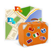 Vector map icon and suitcase