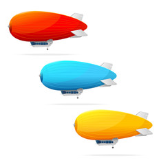 Set of dirigible balloon and text. Vector