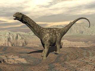 Argentinosaurus dinosaur walk - 3D render