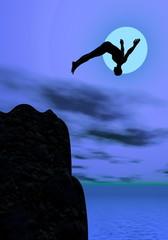 Moonlight diving - 3D render