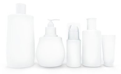 Set of cosmetic products in bottles. Isolated on white