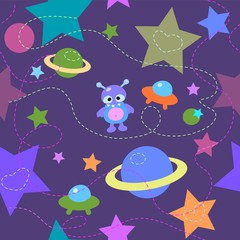 Stars and alien illustration