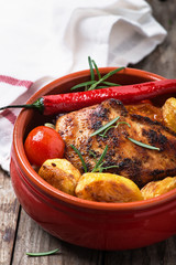 oven baked chicken fillet with potatoes