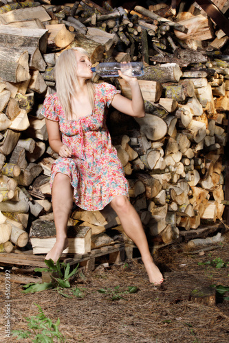 Beautiful country girl  drinking