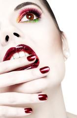 Beautiful heavy makeup closeup