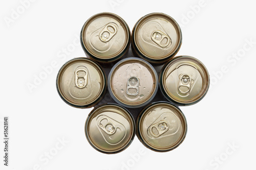 top view a isolated aluminum beer cans and clover