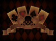 Casino background with skulls and poker cards, vector