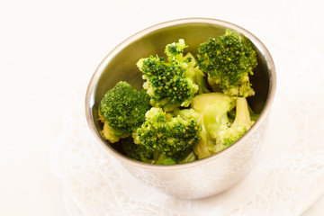 Steamed broccoli in a bowl