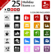 Holiday icons set, button series