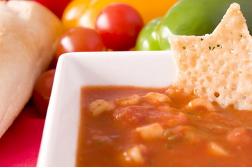 Minestrone Soup and Parmesan Wafer