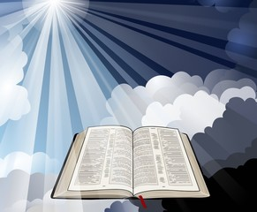 Open Bible with Light Rays
