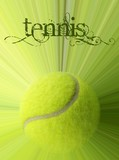 Tennis ball with action and sample text