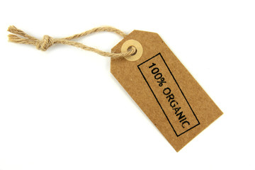 """"""" 100% Organic """" stamped text print on a natural paper label"""