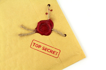 Top secret mail with stamp and wax seal