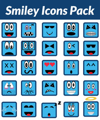 Smiley Icons Pack (Blue)