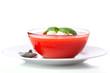 Delicious cold gazpacho soup with mozzarella and garlic croutons