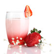 Delicious strawberry yogurt in glass isolated on white