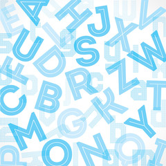 Blue alphabet background stock vector.