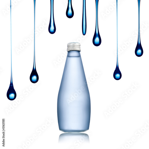 Water drop on water bottle