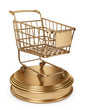 Golden Market cart. Best Sellers concept. 3D Isolated