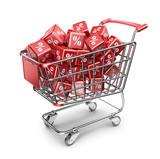 Red market shopping cart. Discount concept. 3D Isolated
