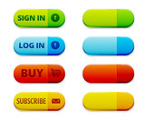 Set of colorful log in, signu in and subscription buttons
