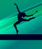 Rhythmic Gymnastics woman with clubs vector background poster