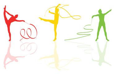 Young women doing calisthenics art gymnastics sport tricks with