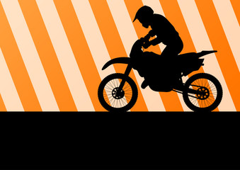 Motorbike rider motorcycle silhouette vector for poster